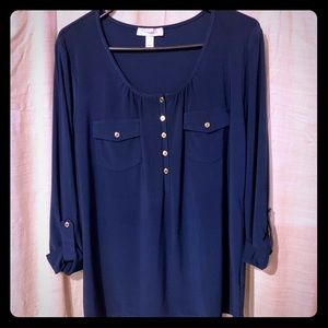 Dressbarn navy pullover top w/gold buttons, NWOT